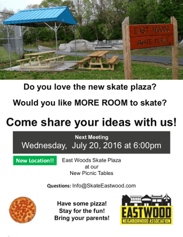 East Woods Skate Plaza July 20, 2016 Meeting Poster