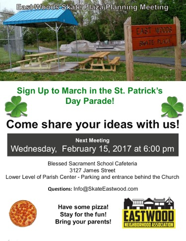 East Woods Skate Plaza February 15, 2017 Meeting Poster